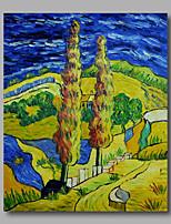 prêt à accrocher étiré toile de peinture à l'huile peinte à la main van gogh abstraite route repro avec crypress un panneau
