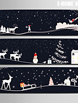 E-HOME® Stretched Canvas Art Christmas Eve Story Christmas Series Decoration Painting  Set of 3