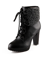 Women's Shoes Chunky Heel Round Toe / Closed Toe Boots Office & Career / Dress / Casual Black / Brown / Burgundy