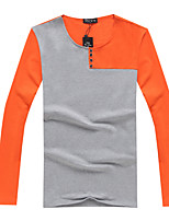 Men's Sleeve Length Tops Type  ,Casual Round Collar Long Sleeve Cotton Blend Casual Pure
