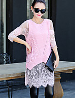 Women's Patchwork / Lace Pink / White Pullover , Casual Long Sleeve