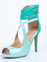 Women's Shoes Patent Leather Stiletto Heel Open Toe Sandals Party & Evening / Dress / Casual Blue
