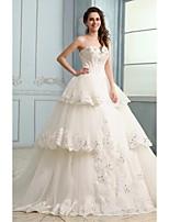 웨딩 드레스 - 아이보리(색상은 모니터에 따라 다를 수 있음) 볼 가운 채플 트레인 튜브탑 튤