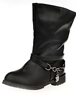 Women's Shoes Leather Low Heel Combat Boots Boots Party & Evening / Dress / Casual Black / Brown