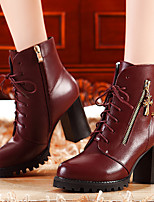 Women's Shoes Leather Chunky Heel Combat Boots Boots Party & Evening / Dress / Casual Black / Red