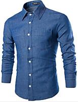 Men's Long Sleeve Shirt , Cotton / Denim Casual Pure