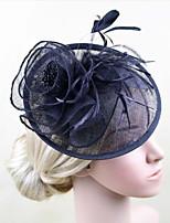Women Fabric Headband , Party Feather / Satin Headpiece