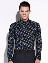 Men's Long Sleeve Shirt , Cotton Casual / Work / Formal Print
