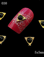 10pcs New Design 3D Golden Alloy Metal with Black Rhinestone Triangle Shape Nail Art Slices DIY Decorations 5*5mm