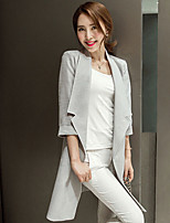 Women's Solid White / Gray Blazer , Sexy Shirt Collar ¾ Sleeve