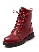 Women's Shoes Leatherette Low Heel Combat Boots Boots Casual Black / Brown / Red