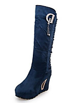 Women's Shoes  Wedge Heel Fashion Boots / Round Toe Boots Party & Evening / Dress / Casual Black / Blue
