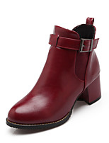 Women's Shoes Leatherette Chunky Heel Pointed Toe Boots Casual Black / Red / Beige