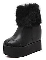 Women's Shoes Leatherette Wedge Heel Fashion Boots Boots Party & Evening / Dress / Casual Black