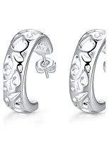 Concise Silver Plated Hollow Pattern C Style Stud Earrings for Party Women Jewelry Accessiories