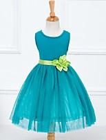 Girl's Green Dress , Floral Cotton / Mesh Summer