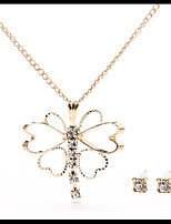 Delicate Gold Chain Crystal Necklace Butterfly Pendant with Stud Earrings Women's Jewelry set