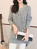 Women's Solid Loose Large Size Pullover , Casual Long Sleeve