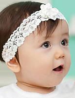 Kid's White Flower Lace Elastic Headband
