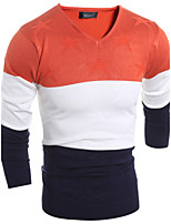 Herren Pullover-Patchwork Freizeit Wolle Lang Orange / Rot / Gelb