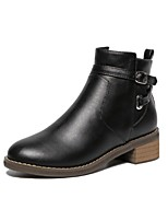 Women's Shoes Leather Chunky Heel Comfort Round Toe Fashion Boots Party and Dress Black