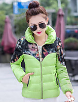 Women's Character / Patchwork Pink / Red / Black / Green / Yellow / Gray Down Coat , Plus Sizes Stand Long Sleeve
