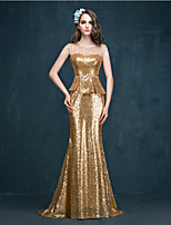 Vestido - Dourado Festa Formal Sereia Jóia Sweep / Brush Train Lantejoulas