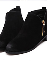 Women's Shoes Suede Low Heel Pointed Toe Boots Casual Black / Brown