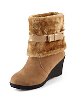 Women's Shoes Leatherette Wedge Heel Fashion Boots Boots Casual Black / Brown / Yellow