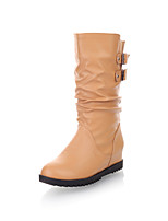 Women's Shoes Leatherette Flat Heel Round Toe Boots Casual Black / Brown / Beige