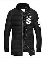 Men's Regular Down Coat , Cotton Pure Long Sleeve