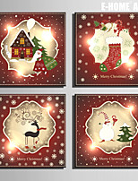 E-HOME® Stretched Canvas Art  Christmas Series Decoration Painting  Set of 4