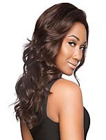 European Lady's Women Brown Long Synthetic Body Wave Wigs