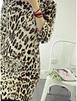 Women's Leopard / Print White / Yellow / Purple Pullover , Casual / Print Long Sleeve