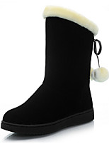 Women's Shoes Leatherette Flat Heel Round Toe Boots Casual Black / Burgundy