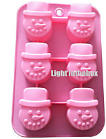 6 in 1 Christmas Snowman Silicone Chocolate Pudding Sugar Ice Cake Mold
