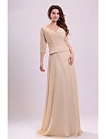 Sheath/Column Mother of the Bride Dress - Champagne Floor-length Chiffon