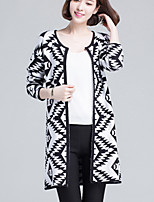 Women's Geometric / Color Block Black Cardigan , Casual Long Sleeve