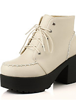 Women's Shoes Leatherette Chunky Heel Platform / Round Toe Boots Casual Black / Beige