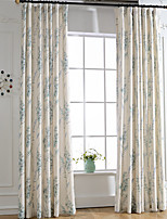 Blue Linen Floral Printing Curtain (Two Panel)