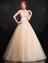 Официальный вечер Платье - Цвет шампанского Бальное платье V-образный Длина до пола Кружева / Атлас / Тюль