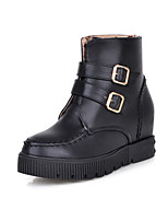Women's Shoes Leatherette Low Heel Platform / Round Toe Boots Casual Black / White