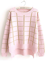 Women's Fashion Casual Round Neck Plaid Cashmere Pullover Knit Sweater
