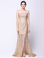 Formal Evening Dress - Champagne Trumpet/Mermaid Strapless Court Train Lace