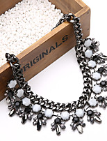 Fashion Vintage Black Layer Gemstone Crystal Flower Teardrop Pendant Statement Necklace