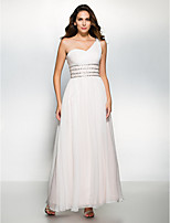 Dress - Ivory A-line One Shoulder Ankle-length Chiffon