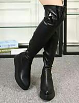 Zapatos de mujer - Tacón Plano - Comfort - Botas - Exterior - Semicuero - Negro / Blanco