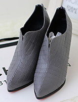 Women's Shoes Leatherette Chunky Heel Pointed Toe Boots Casual Black / Gray