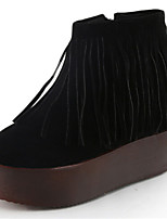 Women's Shoes Flat Heel Round Toe Boots Casual Black / Red