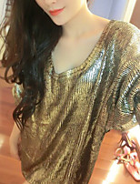 Women's Party Gilding Metal Color Oversize Pullover Knitwear